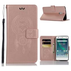 Intricate Embossing Owl Campanula Leather Wallet Case for Nokia 2.1 - Rose Gold