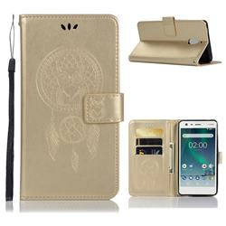 Intricate Embossing Owl Campanula Leather Wallet Case for Nokia 2.1 - Champagne