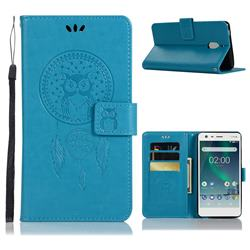 Intricate Embossing Owl Campanula Leather Wallet Case for Nokia 2.1 - Blue