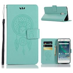 Intricate Embossing Owl Campanula Leather Wallet Case for Nokia 2.1 - Green