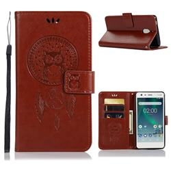 Intricate Embossing Owl Campanula Leather Wallet Case for Nokia 2.1 - Brown