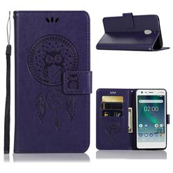 Intricate Embossing Owl Campanula Leather Wallet Case for Nokia 2.1 - Purple