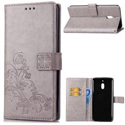 Embossing Imprint Four-Leaf Clover Leather Wallet Case for Nokia 2.1 - Grey
