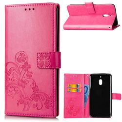 Embossing Imprint Four-Leaf Clover Leather Wallet Case for Nokia 2.1 - Rose