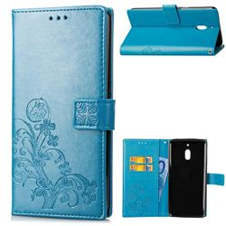 Embossing Imprint Four-Leaf Clover Leather Wallet Case for Nokia 2.1 - Blue
