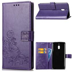Embossing Imprint Four-Leaf Clover Leather Wallet Case for Nokia 2.1 - Purple