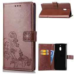 Embossing Imprint Four-Leaf Clover Leather Wallet Case for Nokia 2.1 - Brown