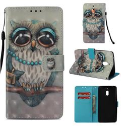 Sweet Gray Owl 3D Painted Leather Wallet Case for Nokia 2.1