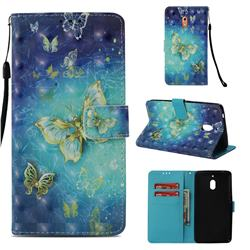 Gold Butterfly 3D Painted Leather Wallet Case for Nokia 2.1