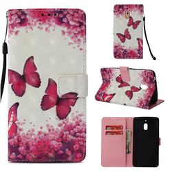 Rose Butterfly 3D Painted Leather Wallet Case for Nokia 2.1