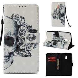 Skull Flower 3D Painted Leather Wallet Case for Nokia 2.1