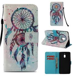 ColorDrops Wind Chimes 3D Painted Leather Wallet Case for Nokia 2.1