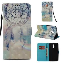 Fantasy Campanula 3D Painted Leather Wallet Case for Nokia 2.1