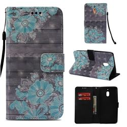 Blue Flower 3D Painted Leather Wallet Case for Nokia 2.1