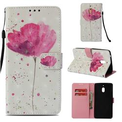 Watercolor 3D Painted Leather Wallet Case for Nokia 2.1