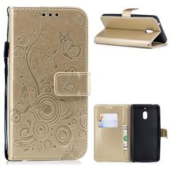 Intricate Embossing Butterfly Circle Leather Wallet Case for Nokia 2.1 - Champagne