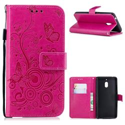 Intricate Embossing Butterfly Circle Leather Wallet Case for Nokia 2.1 - Red