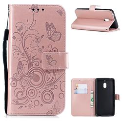 Intricate Embossing Butterfly Circle Leather Wallet Case for Nokia 2.1 - Rose Gold