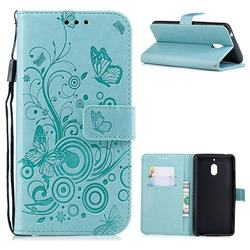 Intricate Embossing Butterfly Circle Leather Wallet Case for Nokia 2.1 - Cyan