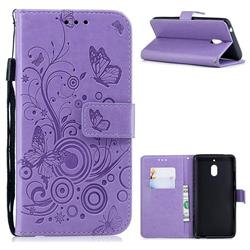Intricate Embossing Butterfly Circle Leather Wallet Case for Nokia 2.1 - Purple