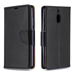 Classic Luxury Litchi Leather Phone Wallet Case for Nokia 2.1 - Black