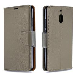 Classic Luxury Litchi Leather Phone Wallet Case for Nokia 2.1 - Gray