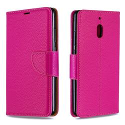 Classic Luxury Litchi Leather Phone Wallet Case for Nokia 2.1 - Rose