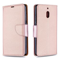 Classic Luxury Litchi Leather Phone Wallet Case for Nokia 2.1 - Golden