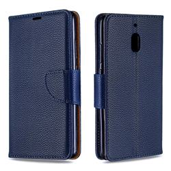 Classic Luxury Litchi Leather Phone Wallet Case for Nokia 2.1 - Blue