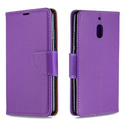 Classic Luxury Litchi Leather Phone Wallet Case for Nokia 2.1 - Purple