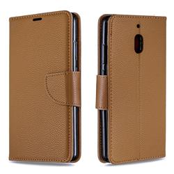 Classic Luxury Litchi Leather Phone Wallet Case for Nokia 2.1 - Brown