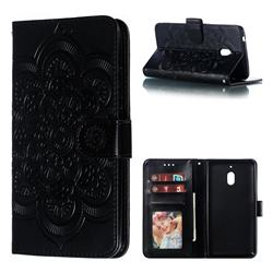 Intricate Embossing Datura Solar Leather Wallet Case for Nokia 2.1 - Black