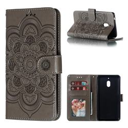 Intricate Embossing Datura Solar Leather Wallet Case for Nokia 2.1 - Gray
