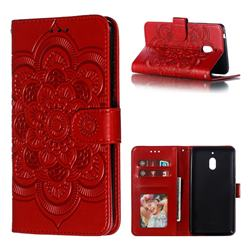 Intricate Embossing Datura Solar Leather Wallet Case for Nokia 2.1 - Red