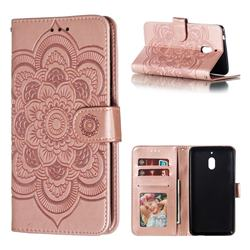 Intricate Embossing Datura Solar Leather Wallet Case for Nokia 2.1 - Rose Gold