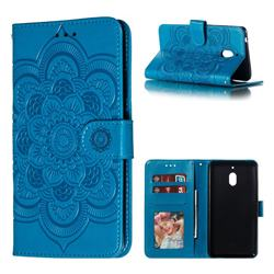 Intricate Embossing Datura Solar Leather Wallet Case for Nokia 2.1 - Blue