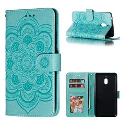 Intricate Embossing Datura Solar Leather Wallet Case for Nokia 2.1 - Green