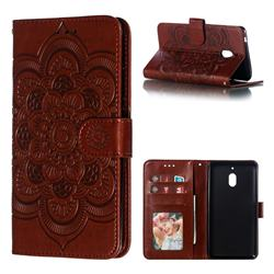 Intricate Embossing Datura Solar Leather Wallet Case for Nokia 2.1 - Brown