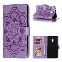 Intricate Embossing Datura Solar Leather Wallet Case for Nokia 2.1 - Purple