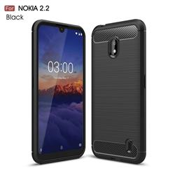 Luxury Carbon Fiber Brushed Wire Drawing Silicone TPU Back Cover for Nokia 2.2 - Black