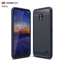 Luxury Carbon Fiber Brushed Wire Drawing Silicone TPU Back Cover for Nokia 2.2 - Navy