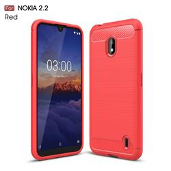 Luxury Carbon Fiber Brushed Wire Drawing Silicone TPU Back Cover for Nokia 2.2 - Red