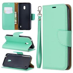 Classic Luxury Litchi Leather Phone Wallet Case for Nokia 2.2 - Green
