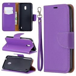 Classic Luxury Litchi Leather Phone Wallet Case for Nokia 2.2 - Purple