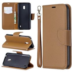 Classic Luxury Litchi Leather Phone Wallet Case for Nokia 2.2 - Brown