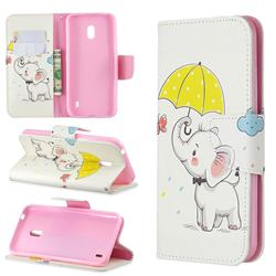 Umbrella Elephant Leather Wallet Case for Nokia 2.2