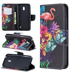 Flowers Flamingos Leather Wallet Case for Nokia 2.2
