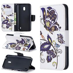 Butterflies and Flowers Leather Wallet Case for Nokia 2.2