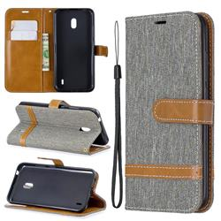 Jeans Cowboy Denim Leather Wallet Case for Nokia 2.2 - Gray