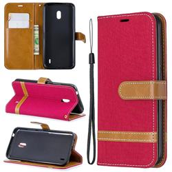 Jeans Cowboy Denim Leather Wallet Case for Nokia 2.2 - Red
